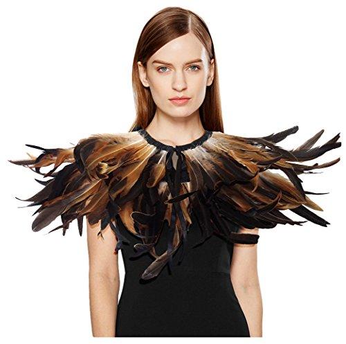 Gelbe Feder Flügel Kostüm - keland Gotische Feder Shrug Cape Schal