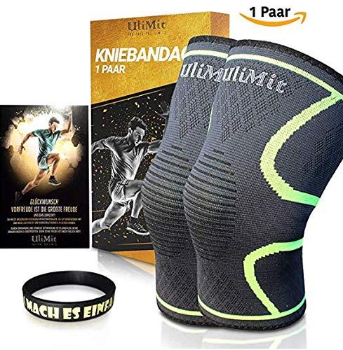 ULIMIT Kniebandage Kompression für Kraftsport, Joggen und Anderen Sport Bei Meniskus, Arthrose und Knieschmerzen für Männer & Frauen Bei Bodybuilding Sowie Laufen auch für Damen Fitness