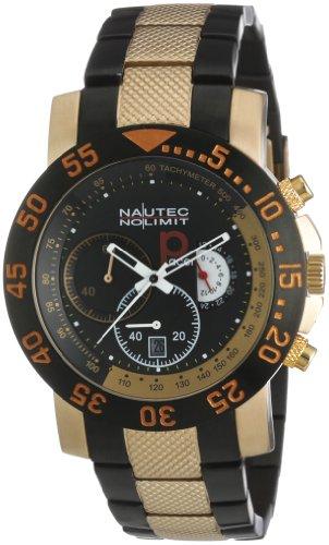Nautec No Limit P-Racer - Reloj cronógrafo de caballero de cuarzo con correa de acero inoxidable multicolor (cronómetro) - sumergible a 100 metros