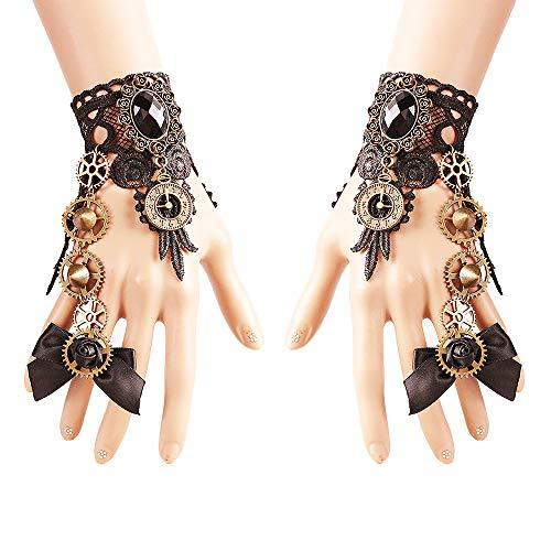ulpe mit Brosche Victorian Steampunk Handgelenk Cuff Gear Armband für Hochzeit Braut Halloween Fasching Accessoires - 1 Paar - Schmetterlings Knoten ()