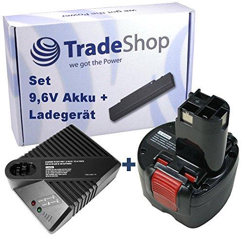 Angebot im Set: Akku Schnellladegerät + Hochleistungs Ni-MH 9,6V 3000mAh Akku für Bosch BAT048 BAT049 BAT100 BAT119 BH984 BPT1041 PSR960 GSR9.6 23609 32609 32609-RT GDR9.6V PSR9.6VE-2