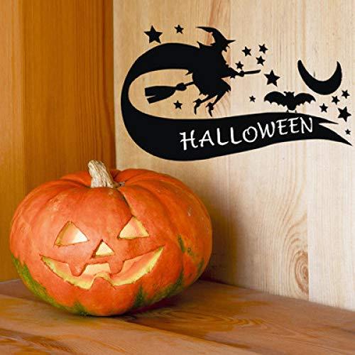 nlichkeit Grün Fenster Türen Und Fenster Halloween Kreative Schwarze Hexe Fliegen Aufkleber Abnehmbare Selbstklebende 33 * 58 cm ()