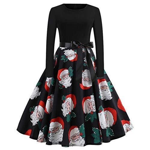 Weihnachten Partykleider Damen Elegant,Riou Weihnachtskleid Langarm Knielang Retro A Linie Abendkleid Cocktailkleid Swing Kleid (M, Schwarz B) (Vintage Pin Up Girl Kostüm Halloween)