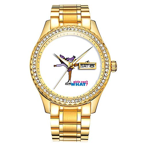 Diamantvergoldete Uhr Luminous Luxury Waterproof Einzigartige Gold-Armbanduhr 216.Eislaufen-Lila