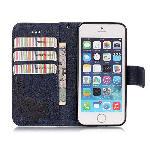 iPhone Case Cover Synthétique de haute qualité Housse en cuir PU avec 3D Résine Rhinetone Papillon Embossed Flowers Wallet Support de couverture de cas avec dragonne pour iPhone 5s SE ( Color : Dark B Dark Blue