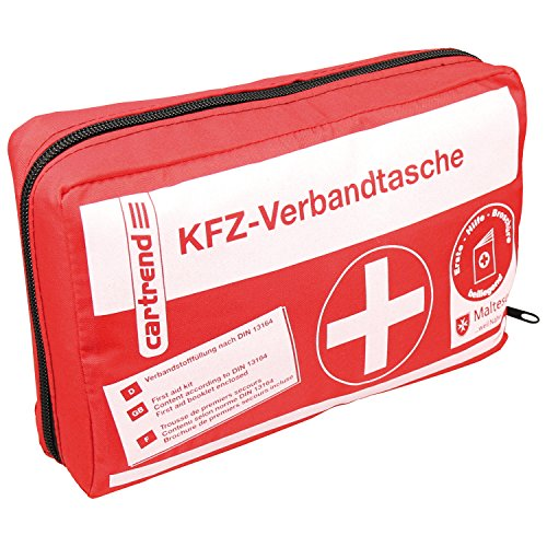 erste hilfe auto set Cartrend 7730042 Verbandtasche rot, DIN 13164, mit Malteser Erste-Hilfe-Sofortmaßnahmen