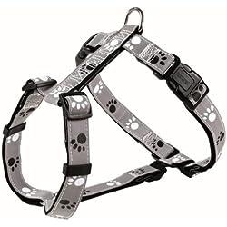 Trixie Silver Reflect Harnais Noir/Gris Taille XS-S 30-40 cm/15 mm pour Chien , Hauteur x longueur x largeur : 1.5 cm x 9 cm x 45 cm