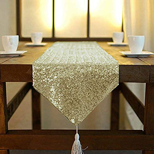 ShinyBeauty Light Gold Shimmer Pailletten-Tischläufer 30 x 180cm, Glitzer Pailletten Stoff Tischläufer mit Quaste Party Hochzeit Bankett Tisch Leinen Layout oder Dekoration