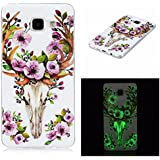 Coque Galaxy A3 2016, IJIA Ultra-mince Transparent Noctilucent Cerf Sika Fleur TPU Doux Silicone Bumper Case Cover Shell Skin Housse Etui pour Samsung Galaxy A3 2016 SM-A310 (Pas pour Galaxy A3 2015) + 24K Or Autocollant