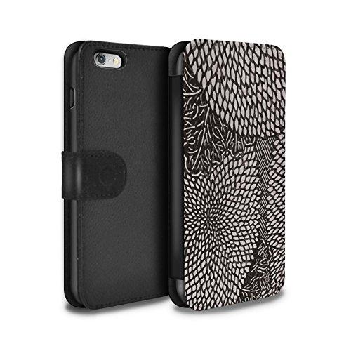 Stuff4 Coque/Etui/Housse Cuir PU Case/Cover pour Apple iPhone 6S / Drap Musique/Mélodie Design / Mode Noir Collection Pétales Minuscules