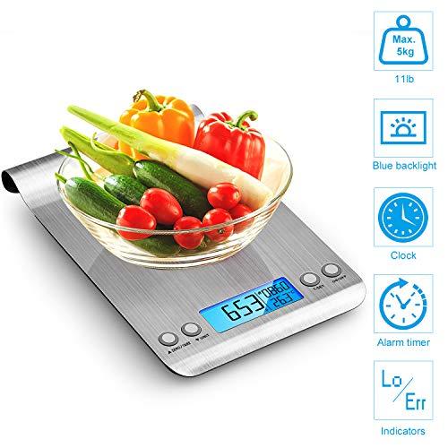Bilancia da Cucina, 5Kg/1g Bilancia Elettronica Digitale Alta Precisione Misurazione Display LCD Multifunzione da Cucina e Acciaio Inossidabile Usato Come Sveglia (2 Batterie Incluse) (Argento)
