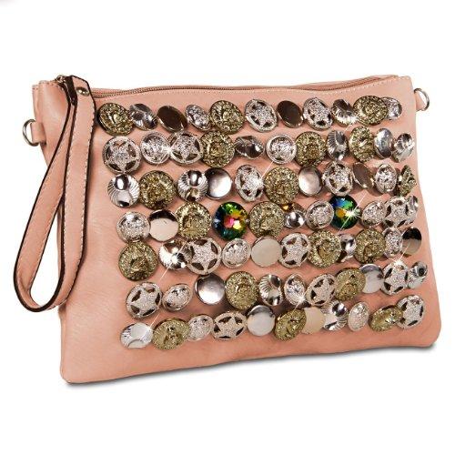 CASPAR Damen Clutch / Abendtasche / Umhängetasche mit ausgefallenem trendy Knopf Dekor - viele Farben koralle