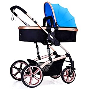 Baby Cart High Landscape Baby Cart Travel System Can Sit and Lie Down Children's Cart Four Seasons Universal Lightweight Stroller Adjustable Baby Stroller(Blue) UPPAbaby A pushchair/ travel system with all weather protection Can be upgraded to carry two or three children with additional accessories Large basket 4
