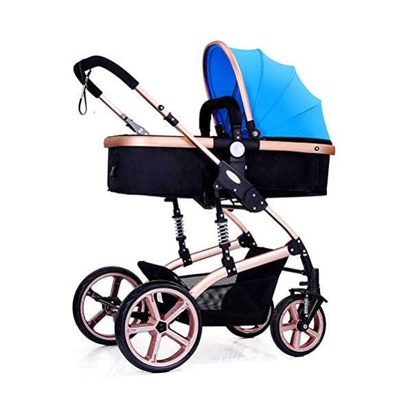 Baby Cart High Landscape Baby Cart Travel System Can Sit and Lie Down Children's Cart Four Seasons Universal Lightweight Stroller Adjustable Baby Stroller(Blue)  Travel friendly lighting design, perfect for travel and day trips. Convenient one-handed and automatic folding, perfect for car travel and vacation.. Easy to push and pull, comfortable grip, heat resistant foam handle and smooth pulley. Simple, 1 vertical folding, automatic locking, easy to carry. 1