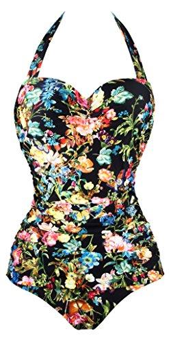 Angeralla traje de baño Monokinis Vintage 50s pin up Halter una pieza (SST036-P1-M)