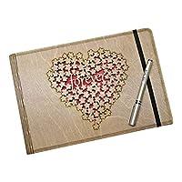 Forever Yazılı, Çiçekli Kalp Figürlü, Ahşap Fotoğraf Albümü/Düğün Albümü/Aile Albümü/Bebek Albümü - 60 Sayfa