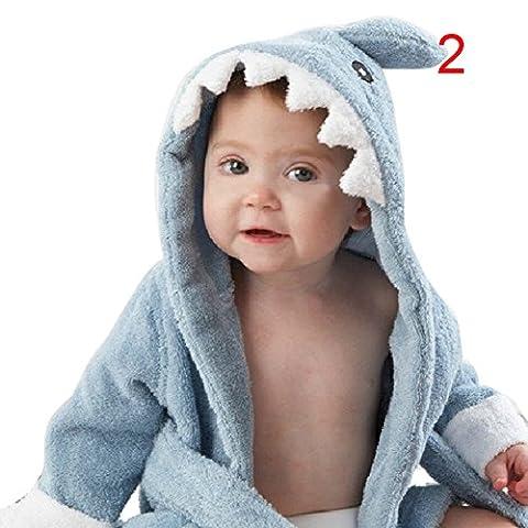 BOBORA Baby Infant Bathrobe Cute Animal Soft Hooded Towels Wrap Shark