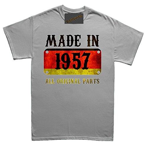 Renowned Made in Germany in 1957 all original parts German Flag Inside Herren T Shirt Grau