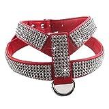EMVANV Hundegeschirr mit Leine und Brustgurt, mit Glitzersteinen, für Chihuahuas, Yorkshire Terrier