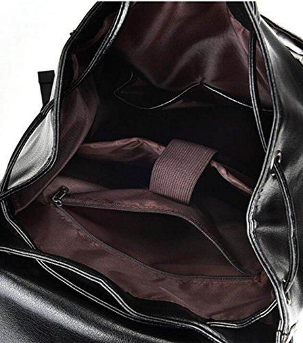 Herrenmode Rucksack Casual Student Hochleistungs-Computer Tasche,Black Brown