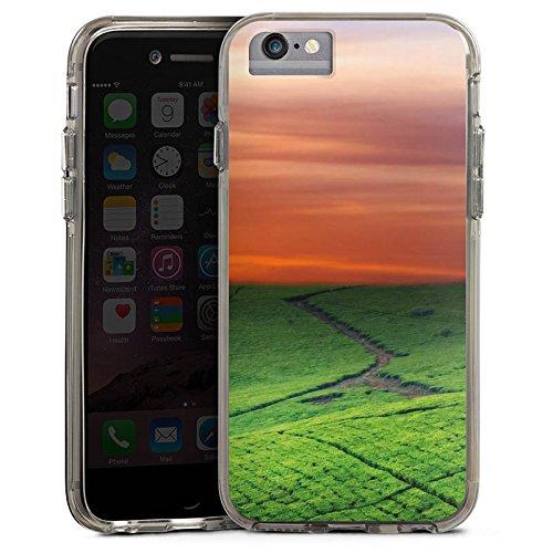 Apple iPhone 7 Plus Bumper Hülle Bumper Case Glitzer Hülle Wiesenlandschaft Sonnenuntergang Irland Bumper Case transparent grau