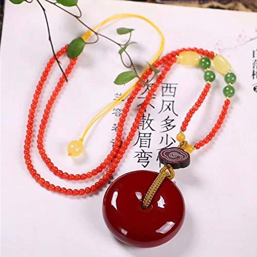 HSUMING Einfache Klassische chinesische Art-rote Korallen-runde Korn-hängende Halskette für Frauen-Mädchen (Koralle Rote Art)
