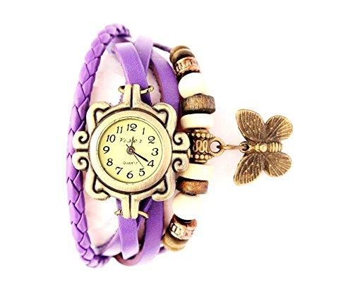 ShopX Analog Butterfly Casual Off-White Beige Dial Women\'s Watch Purple