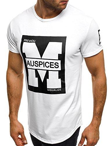 OZONEE Herren T-Shirt mit Motiv Kurzarm Rundhals Figurbetont J.STYLE SS154 Weiß