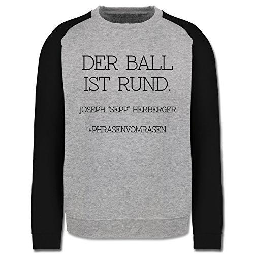 EM 2016 - Frankreich - Der Ball ist rund - Herren Baseball Pullover Grau Meliert/Schwarz