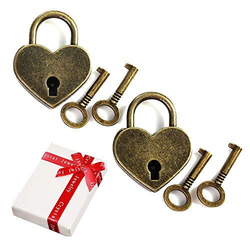 Mini candado antiguo en forma de corazón vintage de 2 piezas con juego de llaves de 4 piezas,nostalgia...