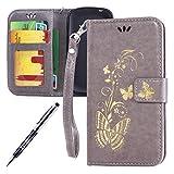Kompatibel mit Samsung Galaxy S3 Mini Hülle Hülle Luxus Gold Schmetterling Muster Lanyard/Strap Pu Leder Hülle Handytasche Brieftasche Etui Schutzhülle Flip Wallet Case Cover Grau