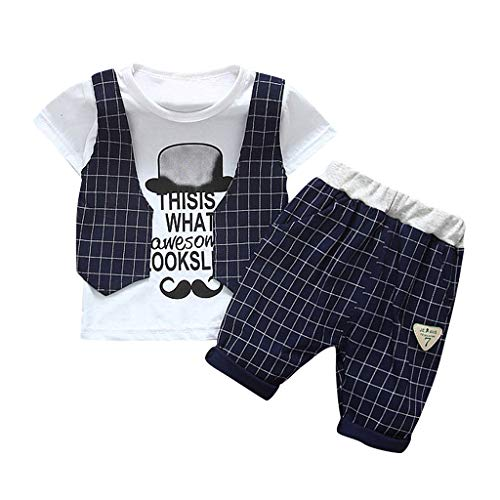 Julhold Kinder Baby Jungen Grid Mode Hübsche Weste Cartoon Schnurrbart T Shirt Schlank Tops Shorts Outfits Set 0-4 Jahre -