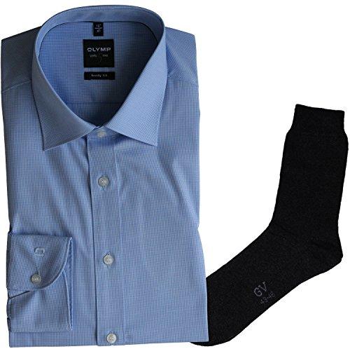 OLYMP Herrenhemd LEVEL FIVE, Body fit, Langarm, New York Kent Kragen, bleu kariert + 1 Paar hochwertige Socken, Bundle Bleu kariert