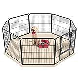 Yaheetech 8-TLG Welpenlaufstall Freilaufgehege Welpenauslauf Hundelaufstall Tierlaufstall für Kleintiere mit Tür je Panel ca. 80 x 80cm