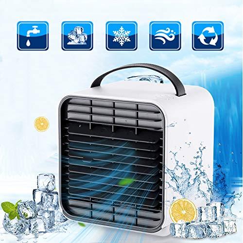 Luftkühler, 3 in 1 tragbarer Mini-Klimaanlagenlüfter, Desktop-Raumkühler Luftbefeuchter & Luftreiniger mit 3 Geschwindigkeiten Nachtlicht für zu Hause Büro (1 In Esstisch 3)