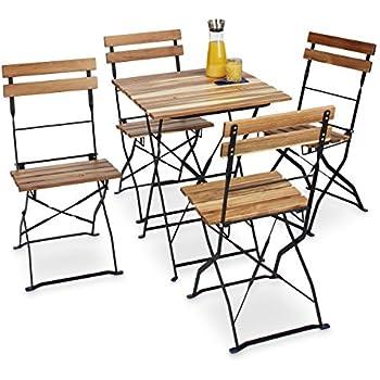 AuBergewohnlich Relaxdays Gartenstuhl 4er Set, Klappbar, Metall, Naturholz, Ohne Armlehnen,  H X