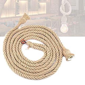 Base per lampade a Sospensione Vintage Rope, Corda Testa di Canapa E27 a Due Fili + portalampada portalampada in Rame Decorazione di Illuminazione per, Soggiorno, Ristorante
