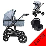 Cynebaby Kombi-Kinderwagen 3in1 (Kombi-Kinderwagen 3in1 mit Babyschale anthrazit)
