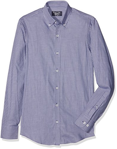 original-penguin-herren-businesshemd-mini-check-shirt-blue-navy-white-gingham-x-small