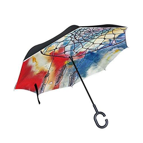 jstel doble capa invertida Atrapasueños de tinta abstracto paraguas coches Reverse resistente al viento lluvia paraguas para coche al aire libre con asa en forma de C
