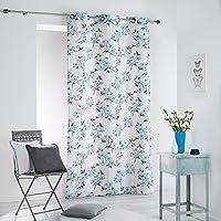 COTON D\'INTERIEUR Algodón de interior Ashley cortina con ojales, algodón, azul, 140 x 240 cm