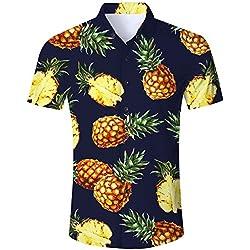 Goodstoworld Camisa Hawaiana para Hombre Camisa de Manga Corta Informal Camisas de Vacaciones 3D Impreso Camisa Colorida piña Azul M