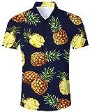Goodstoworld Bedruckte Hemden Herren Dunkelblau Ananas Kurzarm Hawai Hemd Männer Reisehemd Freizeit Button Down Shirt