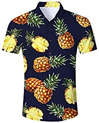 RAISEVERN 80er Retro Style Button Down Kurzarm T - Shirt Große Blaue Ananas Mens