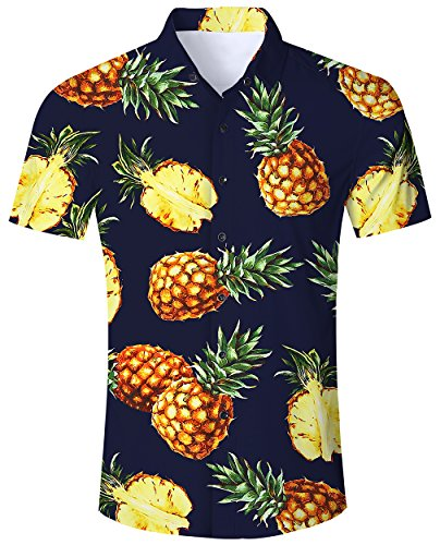 Goodstoworld Herrenhemd Dunkelblau Ananas Kurzarm Comfort Fit Outdoor Hemd Herren Tropical Hawaiihemd Männer Retro Shirt -