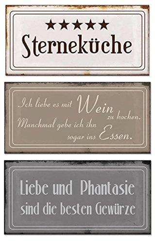 3 Blech-Schilder im Set B x H je 18,5x9cm Metallschilder 5 Sterneküche 3er Set vintage shabby chic