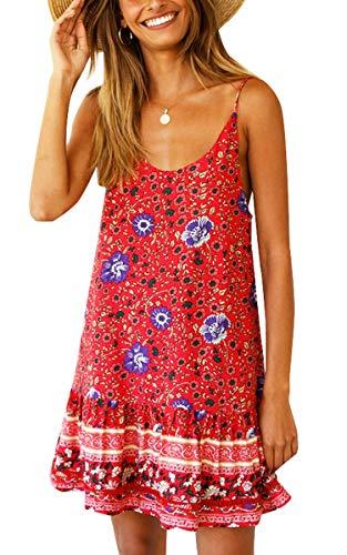 ECOWISH Damen Kleider Boho Vintage Sommerkleid V-Ausschnitt A-Linie Minikleid Swing Strandkleid mit Gürtel 281 Rot XL