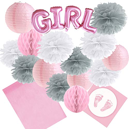 Dekoration-Set 36 teilig 'Girl' Rosa / Weiß / Grau - Tischläufer, Servietten, Lampions, Wabenbälle/Honeycombs, Pompoms Baby Party Baby Shower Mädchen Gender Reveal Babyparty