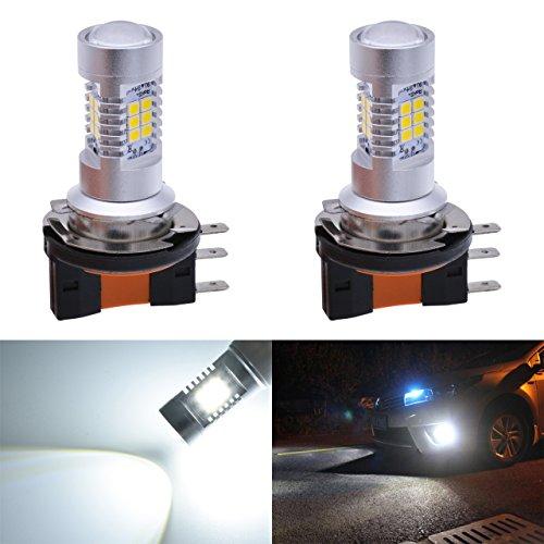KaTur Super Bright H15 DRL Remplacement de la lumière antibrouillard 2835 21SMD LED Voiture Conduite Feux de Circulation Jour Xenon Blanc 6000K DC 12V 80W 2-Pack