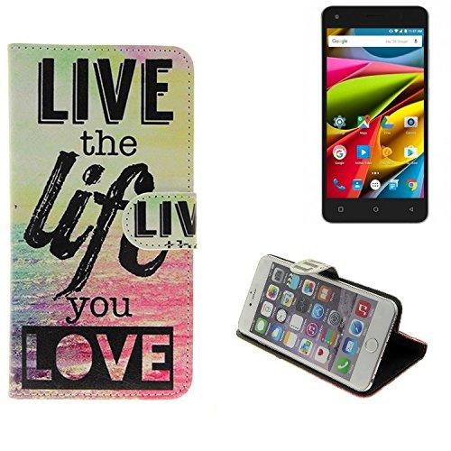 K-S-Trade® Für -Archos 50b Cobalt Lite- 360° Wallet Case Schutz Hülle ''live The Life You Love'' Schutzhülle Handy Hülle Handyhülle Handy Tasche Etui Smartphone Flip Cover Flipstyle